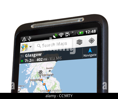Google Maps satellite navigation on an HTC Desire HD Android smartphone - Stock Photo