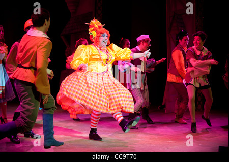 The pantomime dame - a man dressed as a grotesque caricature of a woman, Robin Hood, the Panto, UK - Stock Photo