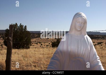 virgin de quadalupe holy mother statue cemetary pintada new mexico nm religion religious symbol lady sorrows - Stock Photo