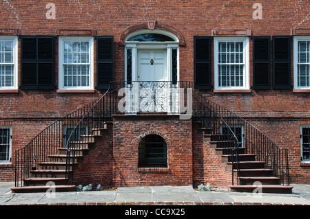 Davenport House, 324 E. State Street on Columbia Square, Savannah, Georgia - Stock Photo