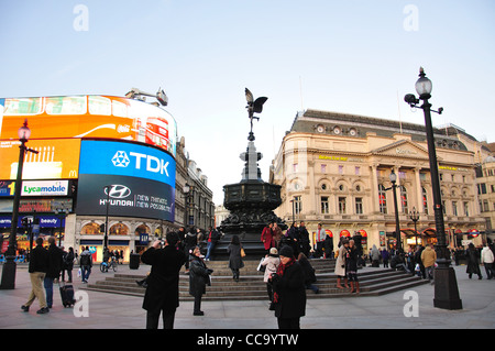 Shaftesbury Memorial Fountain, Piccadilly Circus, West End, City of Westminster, London, England, United Kingdom - Stock Photo