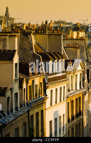 Morning light on houses in the Latin Quarter, Paris, France - Stock Photo