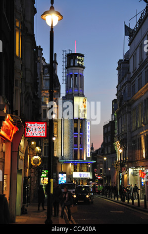 Prince of Wales Theatre at dusk, Rupert Street, West End, City of Westminster, London, Greater London, England, - Stock Photo