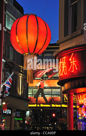 Chinese New Year lanterns in Whitcomb Street, Chinatown, West End, City of Westminster, London, England, United - Stock Photo