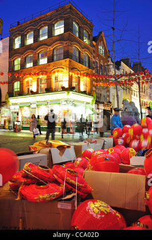 Chinese New Year lanterns in Gerrard Street, Chinatown, West End, City of Westminster, London, England, United Kingdom - Stock Photo