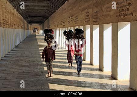 Walkway to the Shwezigon Paya (Pagoda),  Bagan (Pagan), Myanmar (Burma) - Stock Photo