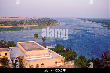 Aerial view of confluence of euphrates and tigris rivers at qurna stock photo royalty free River flowing from the garden of eden