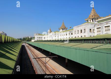 Platforms at Yangon Central Railway Station, Yangon (Rangoon), Myanmar (Burma) - Stock Photo