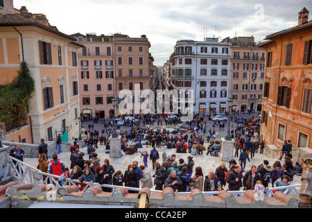 The Spanish Steps (Italian Scalinata di Trinita dei Monti) in Rome, Lazio, Italy - Stock Photo