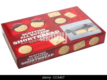 Box of scottish all butter shortbread biscuits on white background - Stock Photo