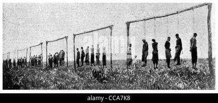 1918 Gibbets six murdered victims hanged by German execution executed hang hanging horror terror evil murder genocide - Stock Photo