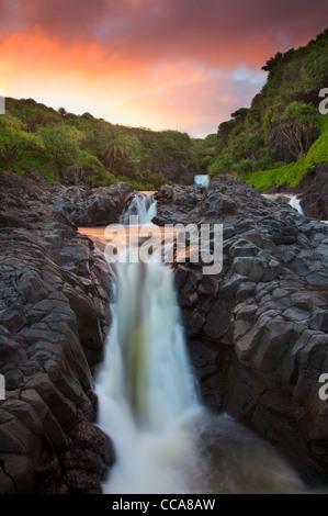 Ohe'o Gulch - aka Seven Sacred Pools, Haleakala National Park, near Hana, Maui, Hawaii. Stock Photo