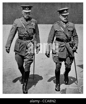 1916 War Secretary Chief of Staff Field Marshal Horatio Herbert Kitchener Sir William Robert Robertson British Army - Stock Photo