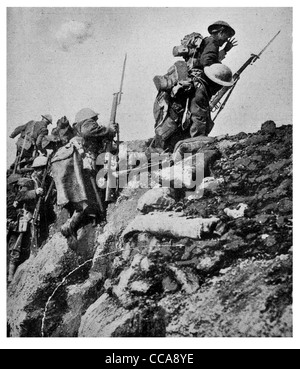 1917 Canadian battalion leaving trench over top charge advance bayonet rifle dug out barbed wire sandbag last stand - Stock Photo