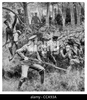 1914 Captured German soldiers surrender without a fight British troops mercy hands up give up white flag forest - Stock Photo