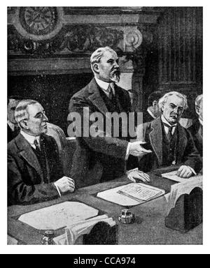 1919 Peace conference Paris Jan 18th President Raymond Poincaré President Thomas Woodrow Wilson  David Lloyd George - Stock Photo