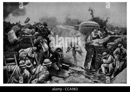 1915 Armoured turret man trench French soldiers wearing steel helmet sandbag under German artillery fire bombardment - Stock Photo