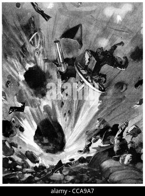 1914 French Land mine destroying German Gun Gunner rocks earth destruction explosion exploded bomb thrown flying - Stock Photo