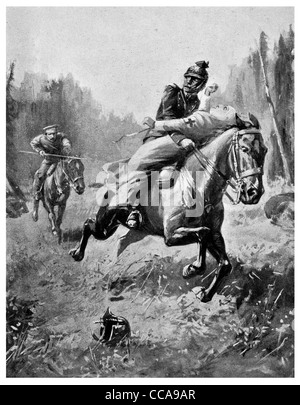 1914 Cossack  Rescue Red Cross Nurse horse rider riding saddle saving save hero lance chase cavalry chased carry - Stock Photo