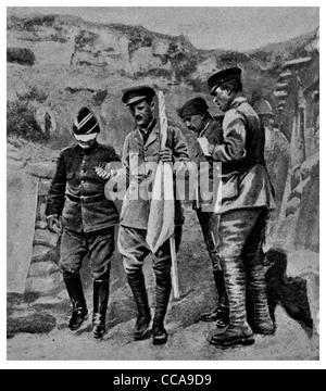 1916 Enemy in Hand Turkish officer blindfold on route armistice Gaba Tepe Kabatepe Gallipoli Turkey white flag blindfolded - Stock Photo