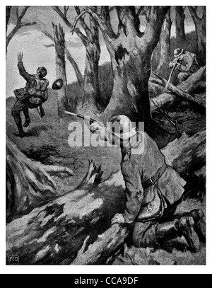1916 Fricourt Yorkshire soldier Birch tree wood wounded German man killed wounded British man pistol rifle ambush - Stock Photo