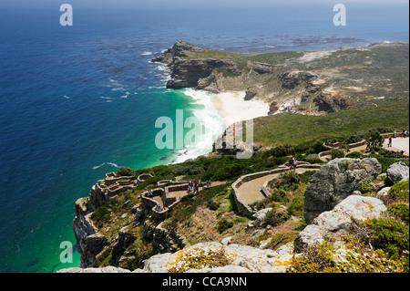 Cape Point and Diaz Beach from Cape Point Lighthouse, Cape Peninsula, Western Cape, South Africa - Stock Photo