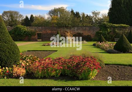 Newstead Abbey, Nottinghamshire. The Rose Garden in autumn. - Stock Photo