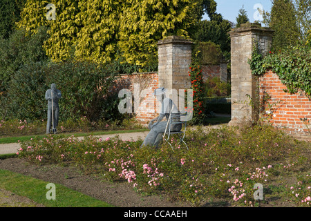 Newstead Abbey, Nottinghamshire. Whimsical wire sculptures in the Rose Garden in autumn. - Stock Photo