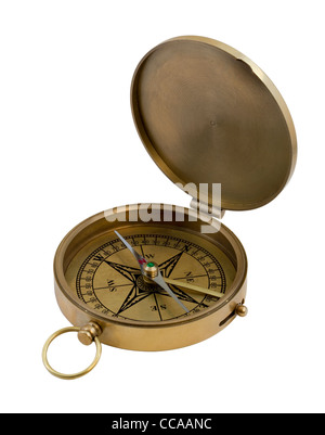 vintage brass pocket compass isolated on white - Stock Photo