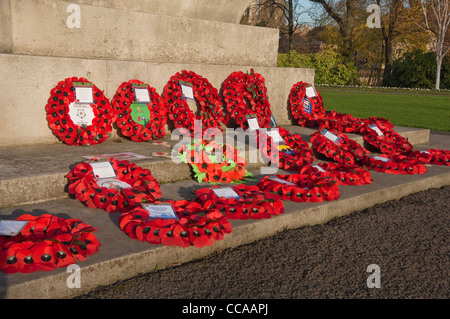 Poppy wreaths on the City War Memorial in the Memorial Gardens York North Yorkshire England UK United Kingdom GB - Stock Photo