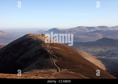 The Summit of Causey Pike and the View NE towards the Dodds/Helvellyn Range Right Lake District Cumbria UK - Stock Photo