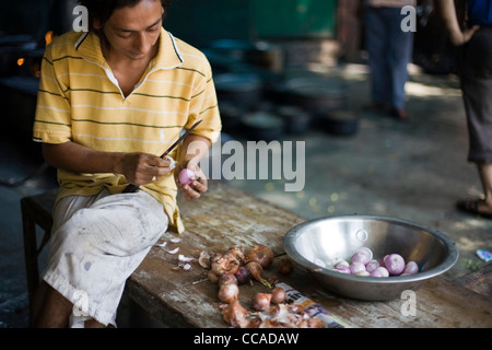 Nasir A Young Chef Chops Onions In Front Of The Kitchen At Babu Shahi Stock Photo Royalty Free
