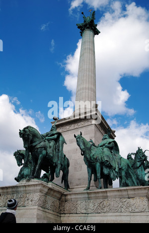 Heroes' Square with the Millenary Monument, Budapest, Hungary - Stock Photo