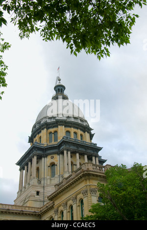 Capitol building of Springfield Illinois showing cupola, dome and rotunda - Stock Photo