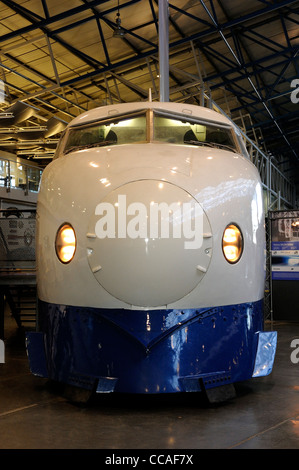 Shinkansen Leading Car 22-141, 'bullet train', built by West Japan Railways, 1976, withdrawn from service in October - Stock Photo
