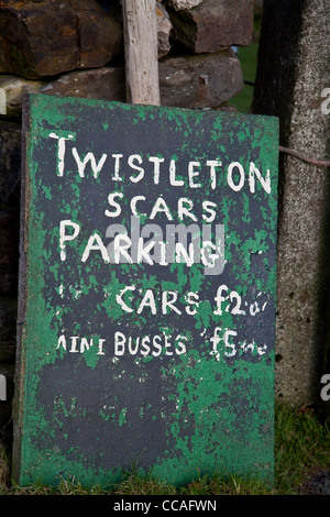 Twistleton Scars Parking _ A Farmers Sign to charge for Parking in Chapel-Le-Dale, Ingleton, North Yorkshire, UK - Stock Photo