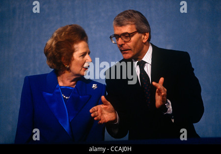 Ex British Prime Minister Margaret Thatcher with current premier John Major at 1991 Tory party conference. - Stock Photo