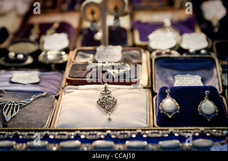 Beautiful secondhand jewellery in a shop window in Brighton lanes. East Sussex England UK - Stock Photo