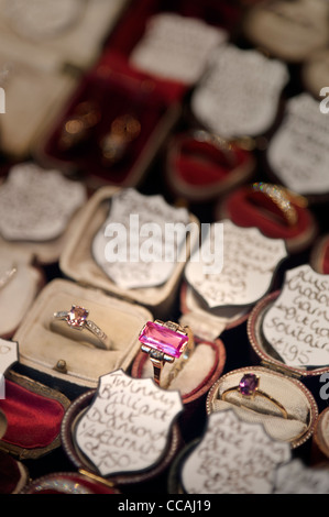 Beautiful second hand jewellery in a shop window in Brighton lanes. East Sussex England UK - Stock Photo