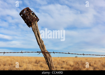 An old blasted can on top of a barbed wire fence post - rural New Mexico, USA. - Stock Photo
