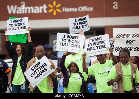 Walmart employees demonstrate in front of the Walmart Home Office in Bentonville, Ark. - Stock Photo