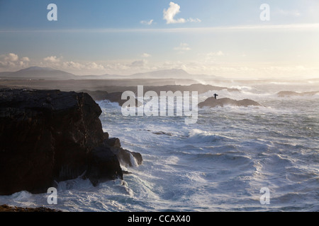 Stormy seas near the cliffs of Belmullet, County Mayo, Ireland. - Stock Photo