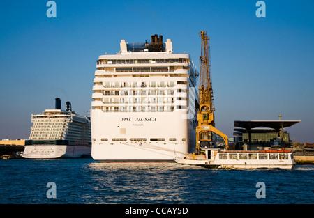 Msc Cruises Cruise Ship Docked At Venice Cruise Terminal Venice Stock Photo Royalty Free Image
