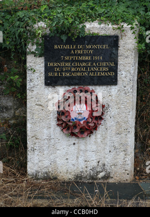 Memorial to the charge of a squadron of the 9th Lancers against the Prussian Dragoons at Moncel on the 7th September - Stock Photo