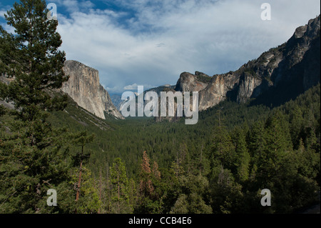 Famous Tunnel View of Yosemite Valley with El Capitan and Cathedral Rocks in Yosemite National Park. - Stock Photo