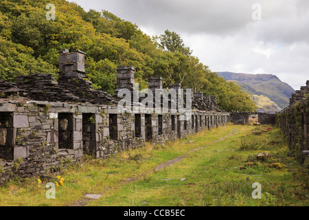 Ruins of old Anglesey Barracks quarrymen's cottages in disused Dinorwig slate quarry on Elidir Fawr in Snowdonia - Stock Photo