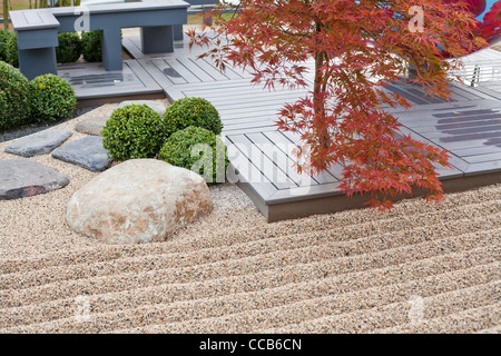 Small deck patio in Japanese style. - Stock Photo