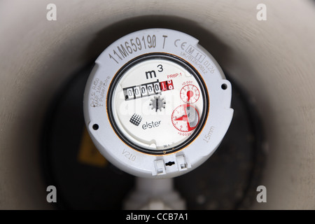 Domestic water meter in the UK. - Stock Photo