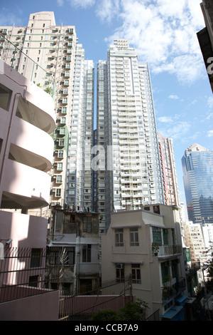 high rise hi density closely packed apartment buildings hong kong hksar china asia - Stock Photo