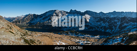 Panoramic view of Five Lakes Valley, Tatra mountains, Poland - Stock Photo
